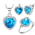 Lover forever crystal 925 sterling silver blue ocean heart necklace and earring set fashion vintage wedding jewelry set 2015