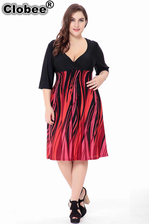 Boho พลัสขนาดเสื้อผ้าผู้หญิง 2019 ฤดูร้อนขนาดใหญ่ขนาด 6XL ผู้หญิง 5XL ชุด V คอแขนครึ่งชุดปาร์ตี้ vestidos