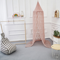 Nordic Elegant Kids Mosquito Net Lace Dome Mosquito Net Princess Baby Shed Valance Round Bed Hanging Canopy Awning Tent Decora