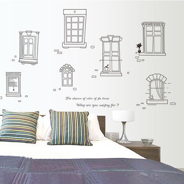 Desain baru Removable Kartun Hitam Dan Putih Jendela Rumah