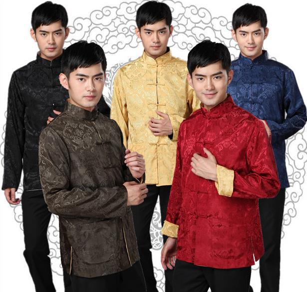Two-Sided Chinese Traditional Tang Suit For Men Plus Size  Long Sleeve Silk  Male Jacket Mandarin Collar Kung Fu Uniform Tops 89