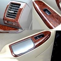 Luxury ABS Rose Wood Chrome For Toyota Prado FJ120 2003 2009 Car Interior Cover Trim Frame Decoration Car Styling