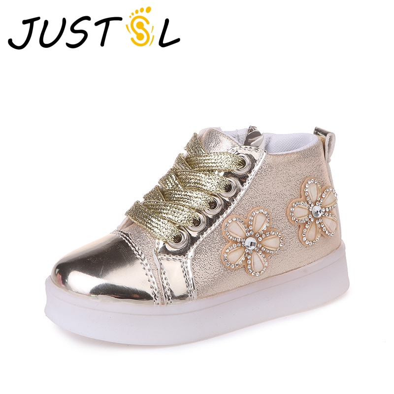 JUSTSL 2018 Spring Autumn childrens fashion casual glowing shoes kids flowers LED soft sport shoes girls fashion sneakersJUSTSL 2018 Spring Autumn childrens fashion casual glowing shoes kids flowers LED soft sport shoes girls fashion sneakers