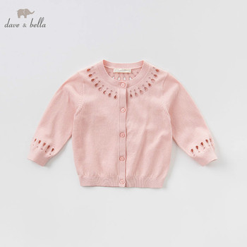 DBJ7404 dave bella spring infant baby girls fashion pink cardigan kids toddler coat children boutique knitted sweater image
