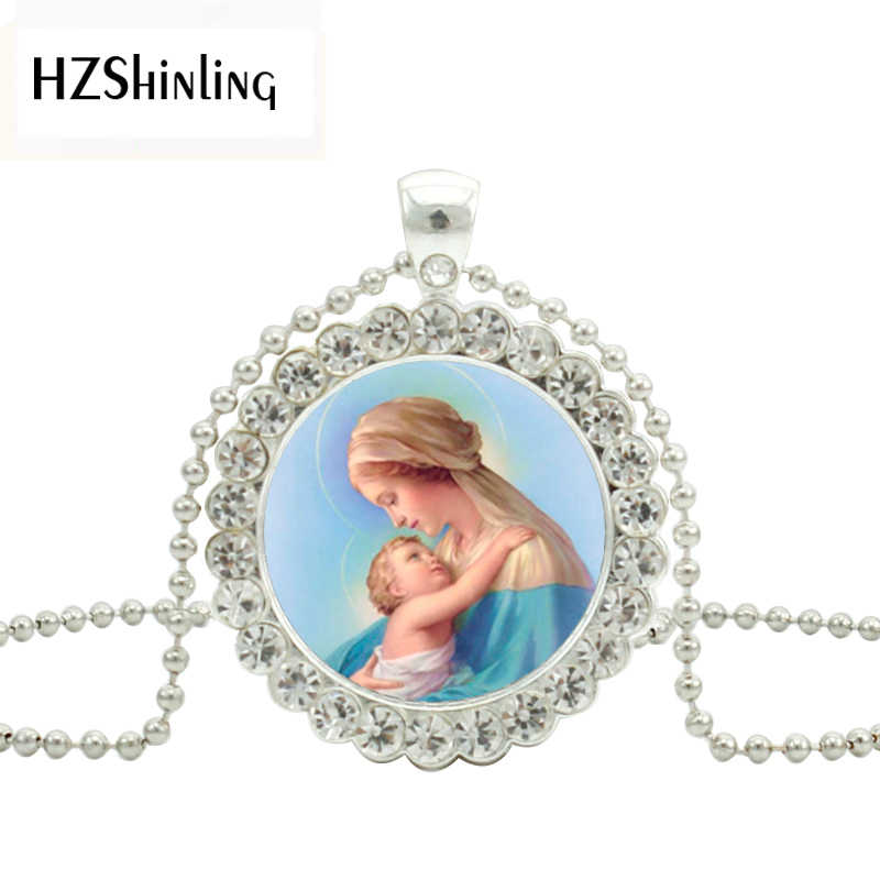 2019 New Fashion Blessed Virgin Mary Crystal Necklace Mother Of Baby Pendant Christian Women Jewelry Pendants Necklaces
