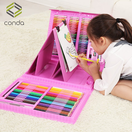 caixa de presente para criancas conjunto pintura em aquarela pincel material de