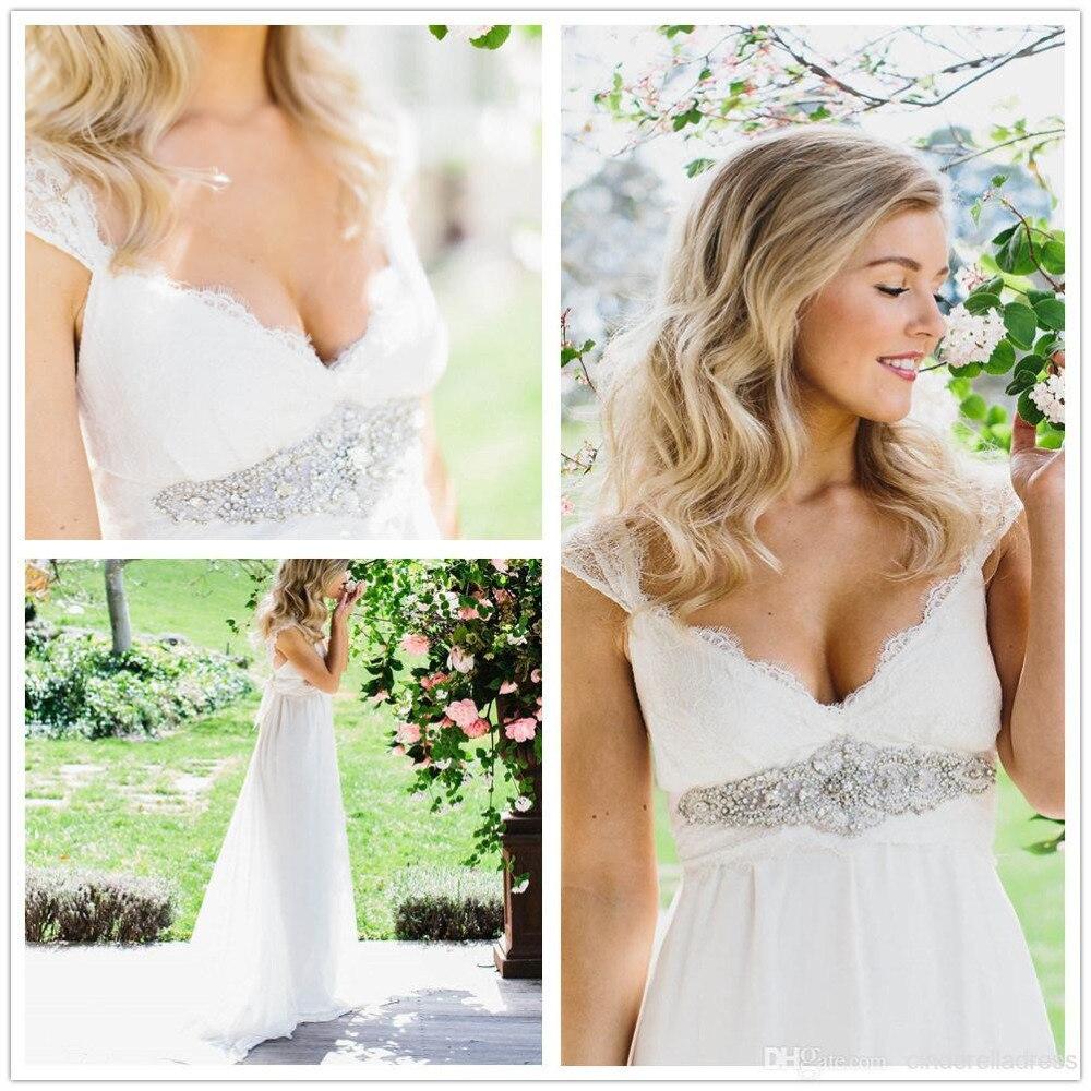 9abba2d1e37 Stunning Vintage Cap Sleeve Lace Boho White Ivory Beach Wedding Dresses  2015 Cheap Chiffon Dreamy Bohemian Bridal Gowns