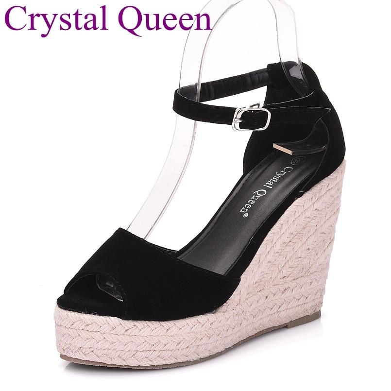 Elegant fashion elegant Women open toe platform wedges straw braid velvet platform sandals girl