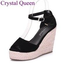 Elegante sandalen vrouwen wiggen schoenen mode platform hoge hakken sandalen Vrouwen open teen platform wiggen stro gevlochten fluwelen sandalenheels sandals womenelegant sandalshigh heels sandals women