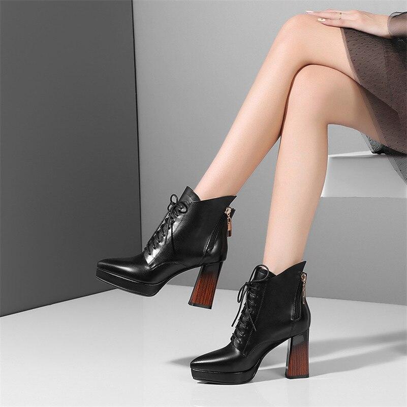 Bottines Basiques Hiver 1 Véritable Martin Cuir Noir En Sexy Automne Fedonas Talons formes Qualité Chaussures Top Hauts Bottes Femmes Femme Plates Xv1pUqF
