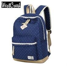 Победитель Марка Элегантный дизайн кружевные женские рюкзаки школы холст точка печати рюкзак для девочек-подростков ноутбук сумка рюкзак