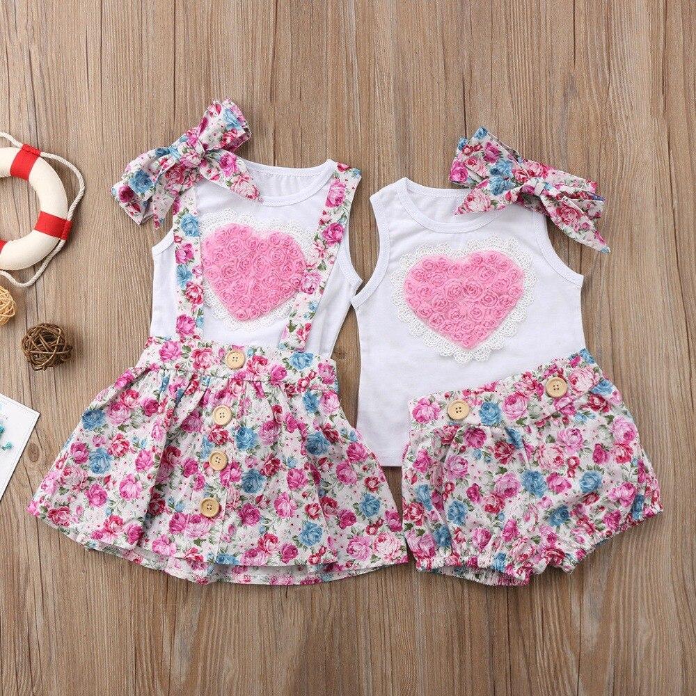 Família irmã mais velha littel irmã combinando roupa do bebê vestido da menina do amor verão rosa topos calças florais bandana 3 pçs conjunto de roupas