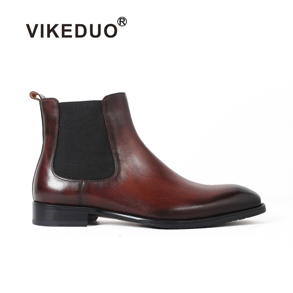 Vikeduo 2018 Vintage Winter Handmade Classic Style Fashion Genuine Cow Leather Slip on Ankle Original Design Chelsea Boots Men