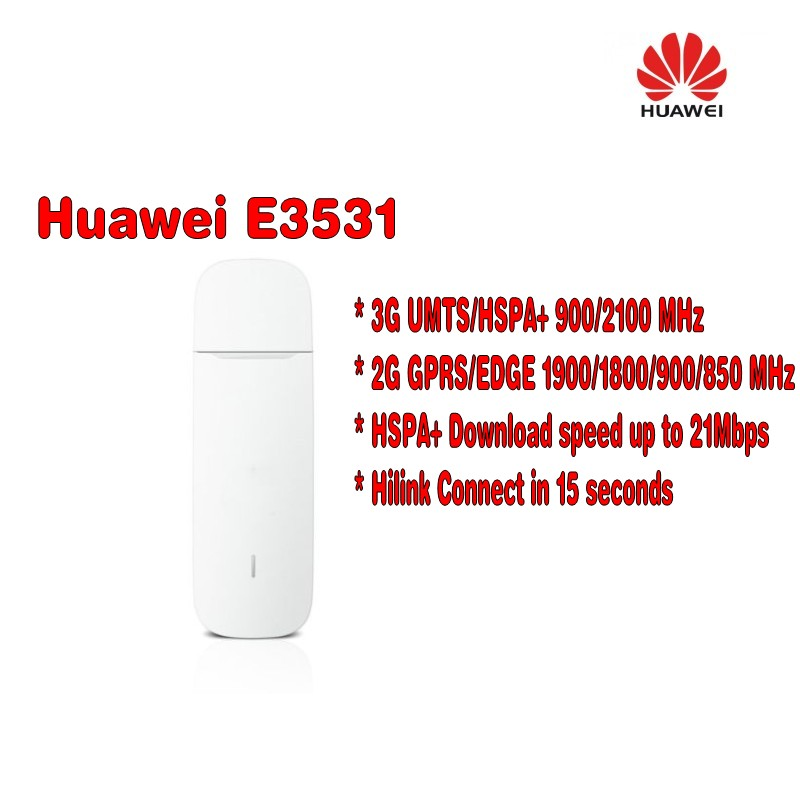 UNLOCKED HUAWEI E3531 USB DONGLE HSPA 3G 4G 21mbps H link