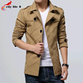 Long Section Mens Windbreaker Jacket Casual Slim Trench Coat 2016 Spring Autumn Plus Size M-3XL Single Breasted Turn-Down Collar