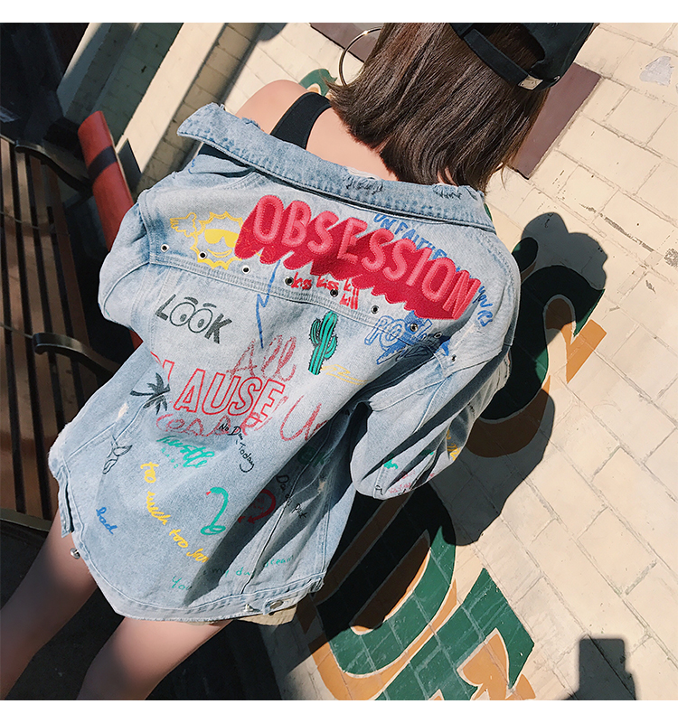 Heavy embroidery embroidered denim jacket bf wind graffiti hole Free shipping