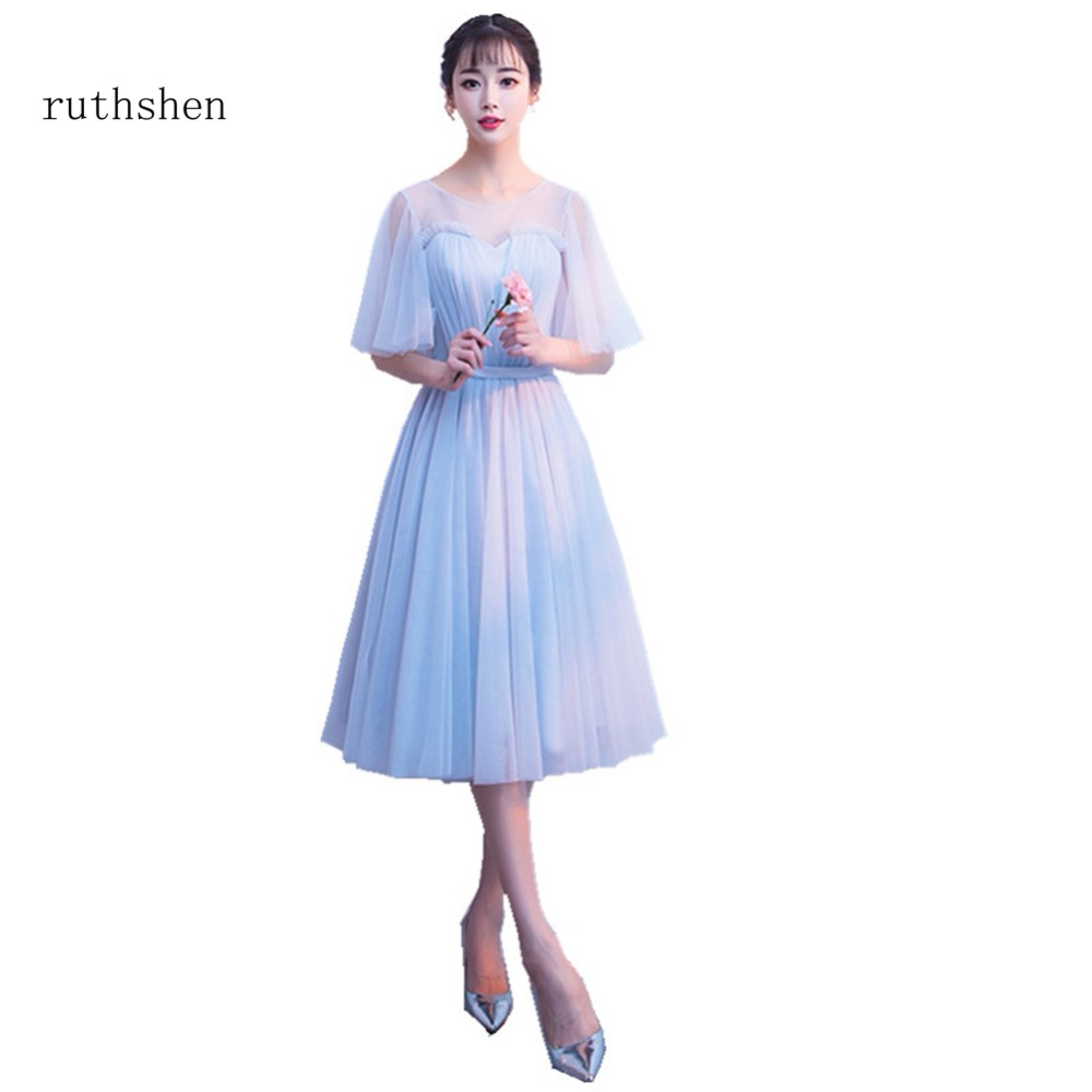 ruthshen Latest Scoop Neck Bridesmaid Dresses Tea Length Half Sleeves Appliques Tulle Brides Maid Wedding Party Dress Cheap 2018