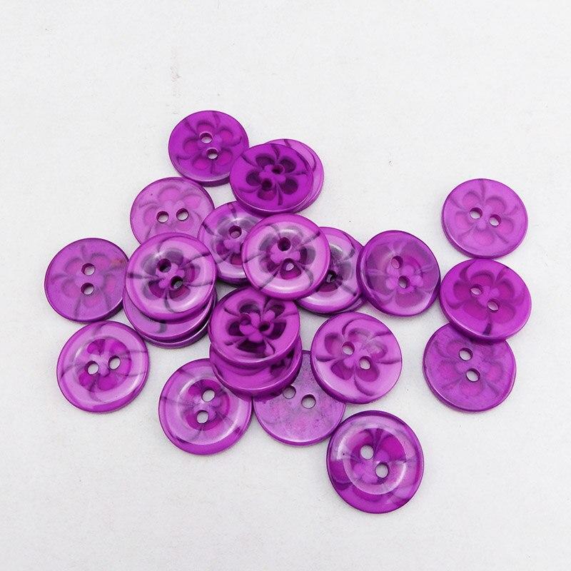 100 шт 13,5 мм разные прозрачные Цветы Форма окрашенная Смола пуговицы пальто сапоги швейная одежда аксессуары украшения пуговицы R-135-1 - Цвет: Deep purple