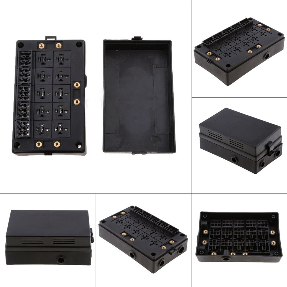 Automotive 18 Way Fuse Relay Box Holder Block Circuit Protector Terminals 10 way Relay Socket Box With Dustproof Case in Fuses from Automobiles Motorcycles
