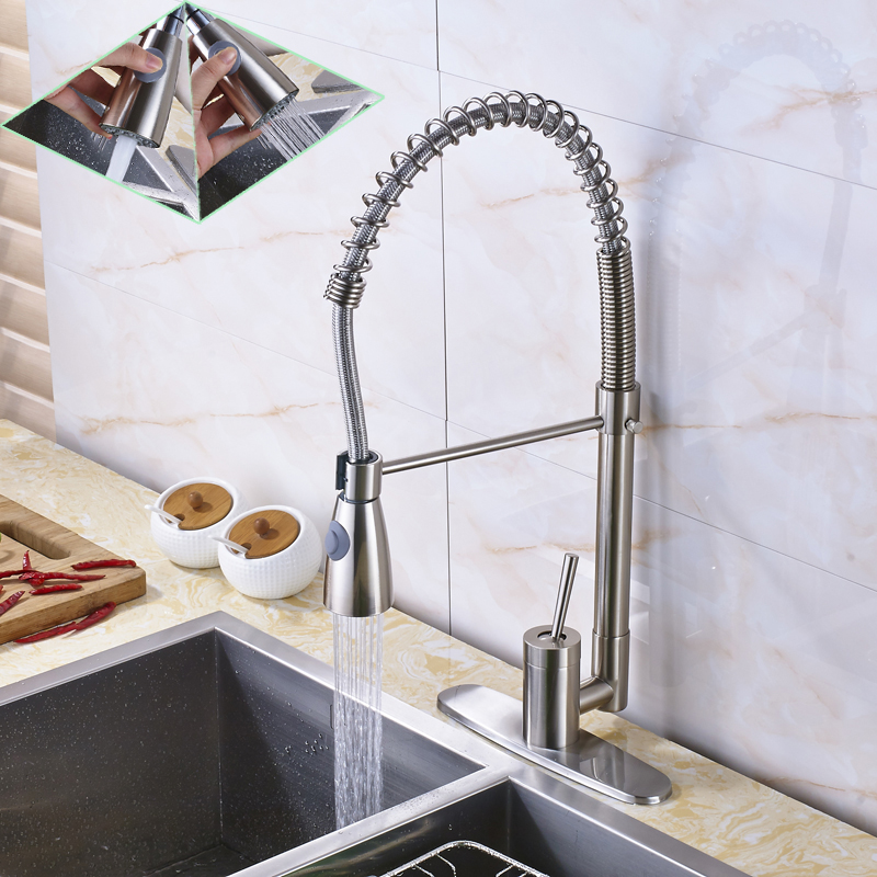 2016 Newly Bathroom Single Hole Deck Mounted Kitchen Sink Faucet Tap Brushed Nickel Pull Down Sprayer Kitchen Mixer Water swanstone dual mount composite 33x22x10 1 hole single bowl kitchen sink in tahiti ivory tahiti ivory