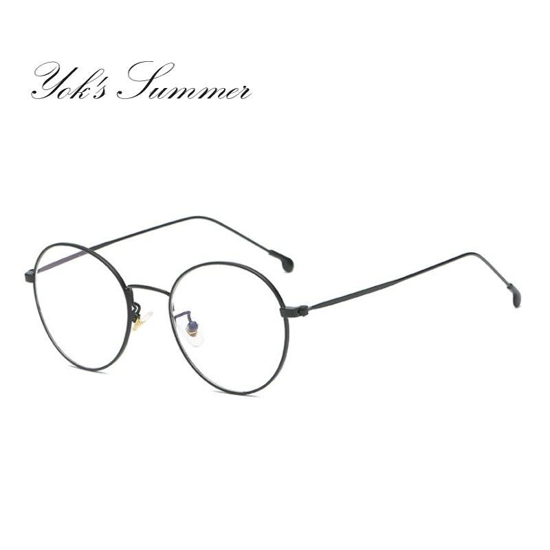 Yok Лето круглый Анти-голубой солнцезащитные очки Для женщин компьютерных игр очки Рамка для Для мужчин Винтаж тонкие металлические очки чте...