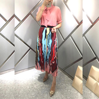 Casual Skirt Suit High Waist Skirt Pleated with Pink Blouse Womens lastic Waist Skirts Summer Pink Blouses and Shirts Women