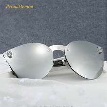 Prouddemon Rimless Cateye Sunglass Women Fashion Skull Oversized Glasses Female Retro Big Eyewear Oculos UV400