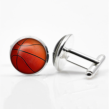 Basketball Cufflinks Silver Plated Basket Ball Cuff Links Men and Women Sport Fans Accessories fashion silver plated 26 english letters metal cufflinks h cuff links