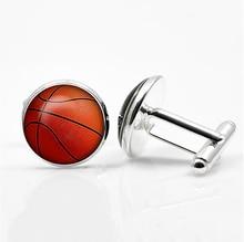 Basketball Cufflinks Silver Plated Basket Ball Cuff Links Men and Women Sport Fans Accessories