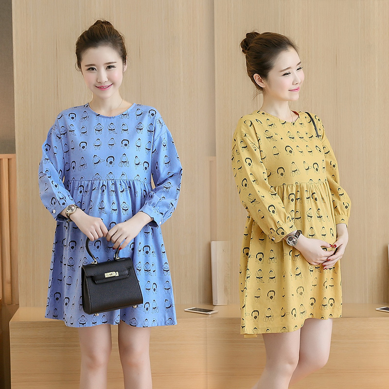 New 2018 autumn wear maternity clothes Long sleeve printed cotton and linen loose big yards long in pregnant women dress