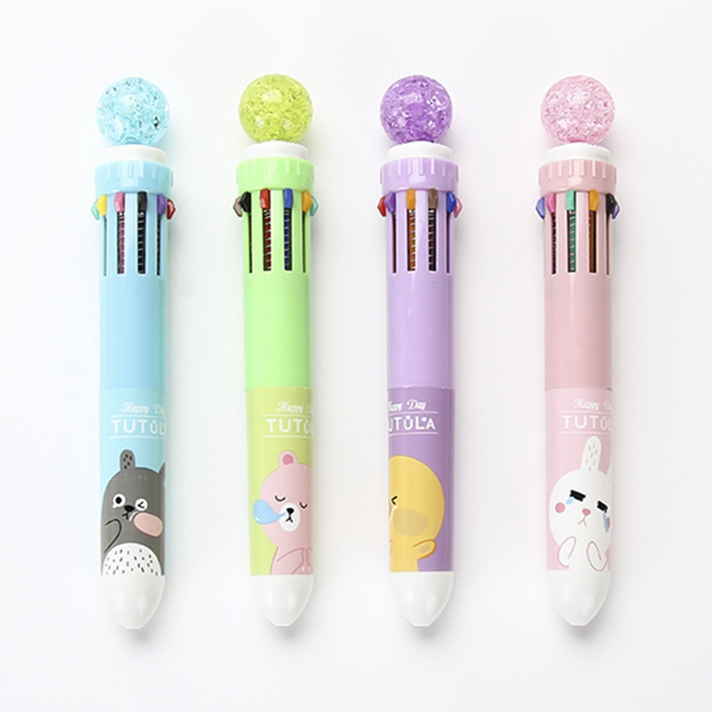 Pens, Pencils & Writing Supplies 10 Colors/pen Multi-color Ball Point Pen Cute Unicorn Diy Supplies Kawaii Stationary For School Student Buy One Give One