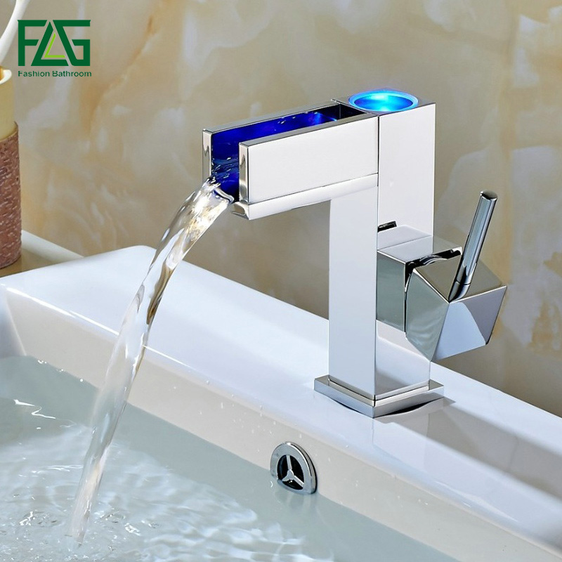 FLG Free shipping Temperature Controlled Basin Faucet Water Tap Waterfall Faucet Bathroom Faucets 3 Color LED Faucet 110-11 flg free shipping crystal