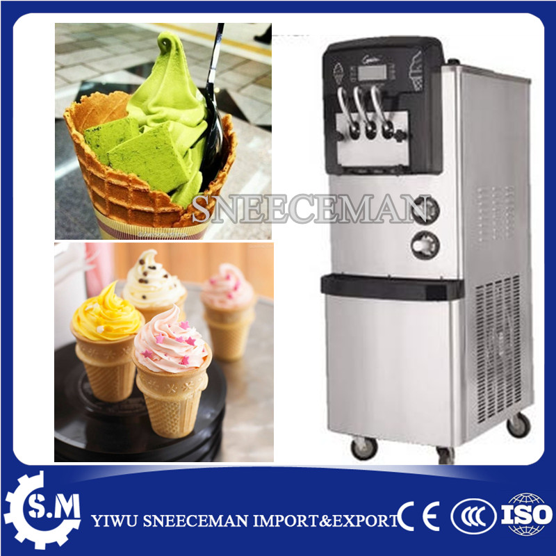 24-28L/H 3 flavors vertical soft serve ice cream machine ice cream making machine yogurt maker machine 20l h soft ice cream making maker machine 10 2l mini 3 flavor maquina de sorvete soft serve ice cream machine with ce