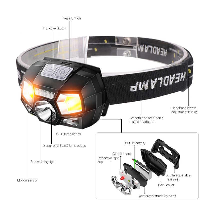 5200 люмен фара светодиодная датчик движения ультра яркий Жесткий головной убор мощная фара USB Перезаряжаемый водонепроницаемый фонарик