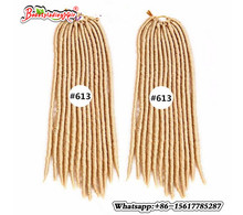 Virkade Faux Locs 18inches 24strands Soft Dread Lock Hår Faux Locs Virka Ombre Dreadlocks Hair Kanekalon Freetress Hair