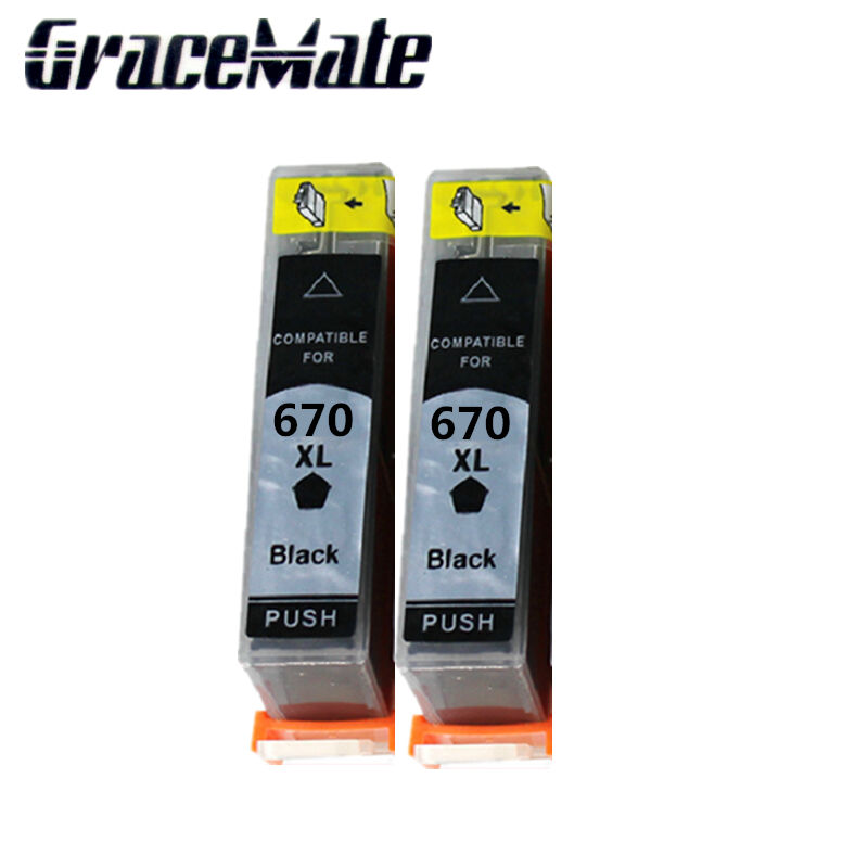 2pcs black ink cartridge compatible FOR HP 670XL cartridge for deskjet 3525 4615 4625 5525 6525 printer image