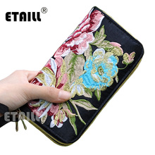 ETAILL New Flower Embroidered Wallet Purse Handmade Ethnic Long Female Card Holder Wallets Ladies Zipper Coin