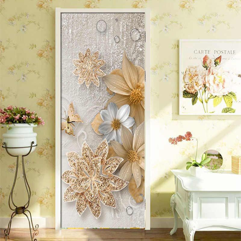 3D טפט אירופאי סגנון זהב פרחי קיר סלון חדר שינה דלת מדבקת PVC עצמי דבק עמיד למים קיר נייר רולס