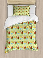 Nursery Duvet Cover Set Happy Smiling Sun with Flowers and Ladybugs Cute Image Nature Inspired Drawing 2 Piece Bedding Set