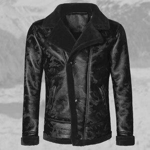 Image 3 - ผู้ชายสีดำฤดูหนาวอุ่น lamb ขนสัตว์ casual ชายเสื้อขนสัตว์ plush faux เสื้อแจ็คเก็ตหนังยุโรปสไตล์ F7146