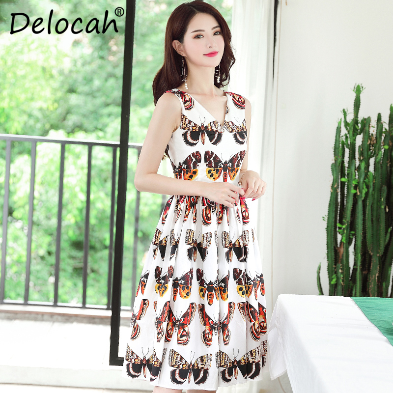 Delocah 100% Cotton Fashion Designer Summer Dress Women Sexy V-Neck Tank Butterfly Printed Vintage Elegant Midi vestidos