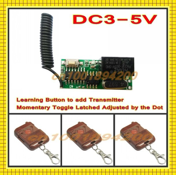 DC3-DC5V 3.6V 3.7V 4.5V RF Remote Control Switch Receiver 3 Transmitter Mini Receiver Momentary Toggle Latched Learn 315/433.92 mini remote control switch system micro dc3v 5v 2a relay 2 receiver transmitter momentary toggle latched learn 315 433