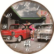 aa6fe4da2 WONZOM خمر ساعة حائط سيارة التصميم Relogio دي Parede كبير صامتة لغرفة  المعيشة الزمن القديم سيارات