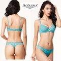 Nova marca sexy conjunto sutiã de renda transparente underwear soutien push up profundo com decote em v 3/4 C copa bras e mulheres plus size tanga set 224