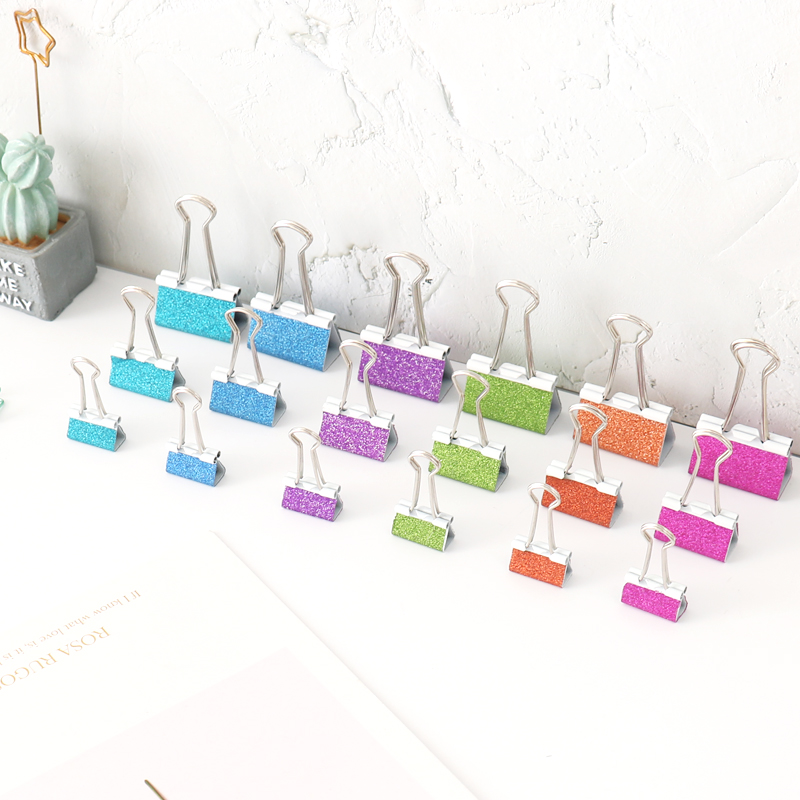 TUTU 19mm,25mm,32mm Clip Metallic Glitter Colored Binder Clip Glitzy Classroom Paper Clamps Silver Medium Elliot Folder H0302