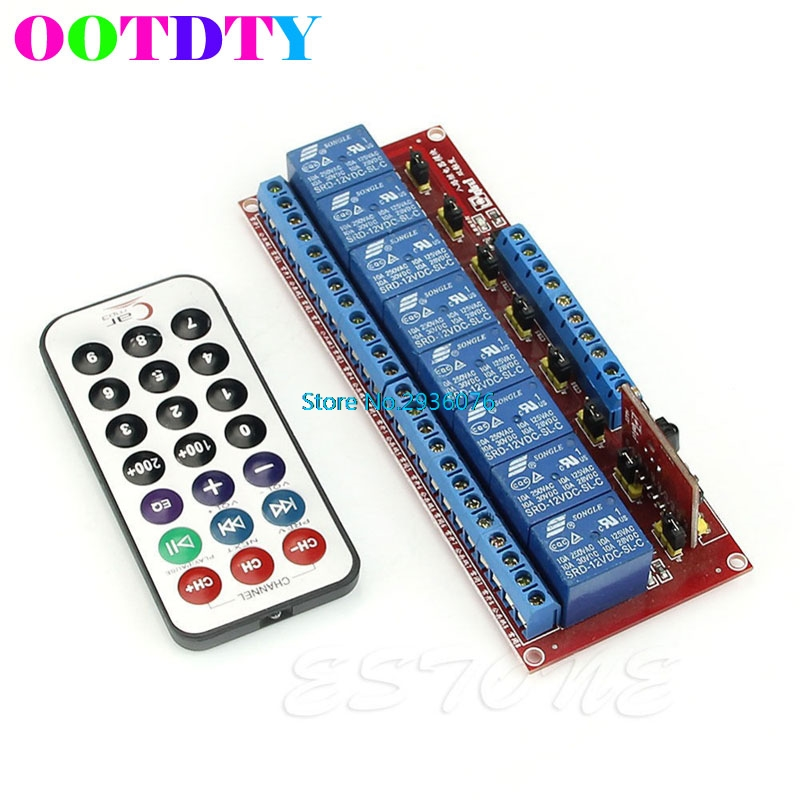 12V Multi-function 8-Channel Relay Module Bidirectional Infrared Remote Control APR8_25 5sets new cjmcu txs0108e 8 channel level shifter module 8 bit bidirectional voltage converter