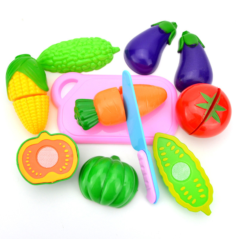 8 Pieces Pretend Play Cutting Fruit Vegetable Play Set Kids Fun Cutting Toys 3D Kitchen Toy Plastic Color Food Learning Toy P15