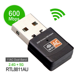 Wireless 600Mbps USB wifi Adapter AC600 2.4GHz 5GHz WiFi Antenna PC Mini Computer Network Card Receiver Dual Band 802.11b/n/g/ac