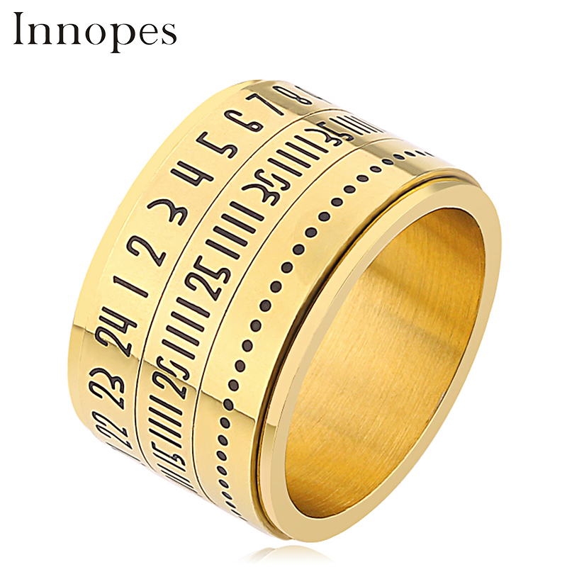 Innopes Rotatable Roman Numerals Calendar silver Ring Men Jewelry Stainless Steel Cool Punk Spinner Male Band