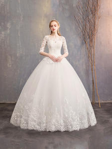 Ball-Gown Wedding-Dresses Custom-Made Luxury Embroidery Half-Sleeve New Can Mrs Win Lace